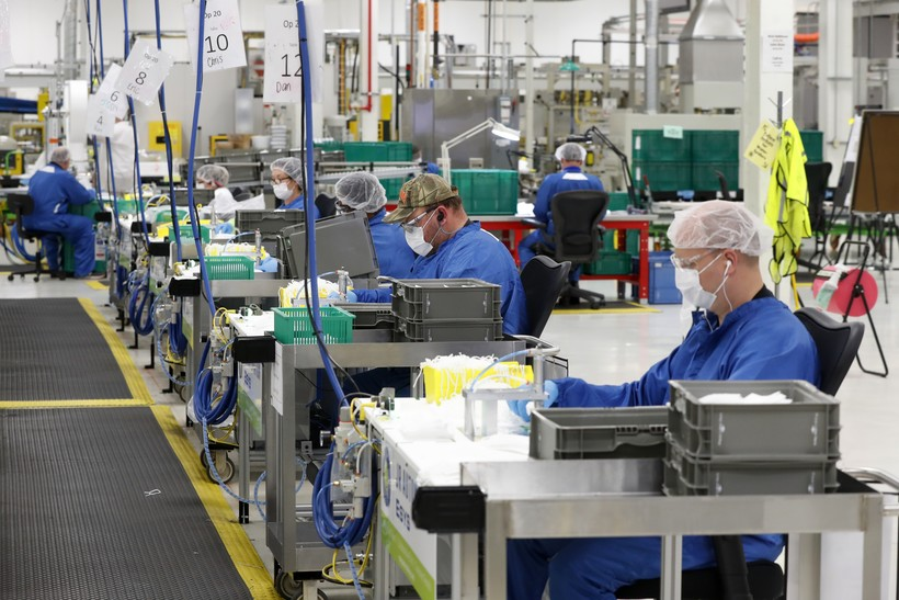 Workers at manufacturing facility