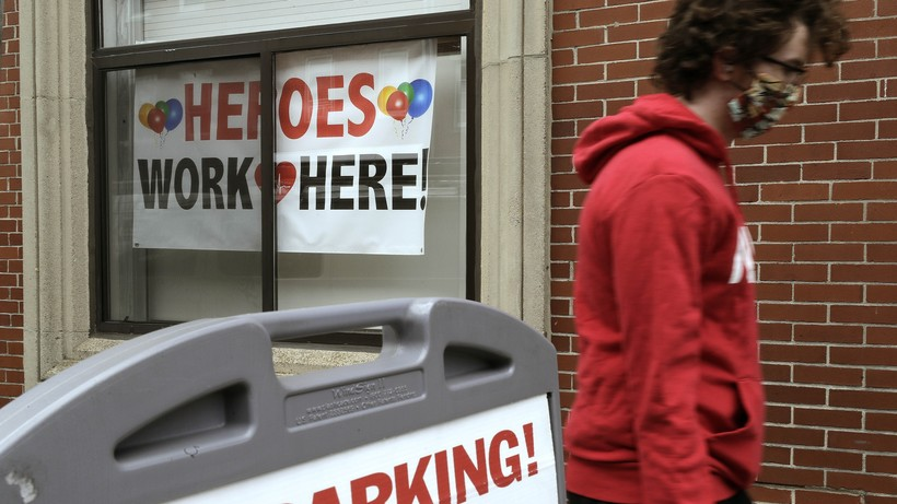 'Heroes work here' sign honoring health care workers in Massachusetts