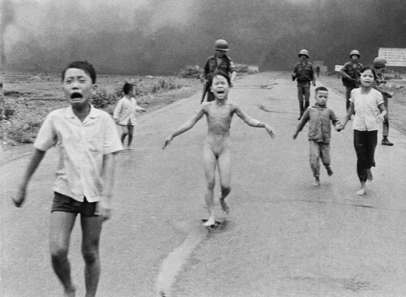 a naked, 9-year-old Kim Phúc runs after an an aerial napalm attack in Vietnam