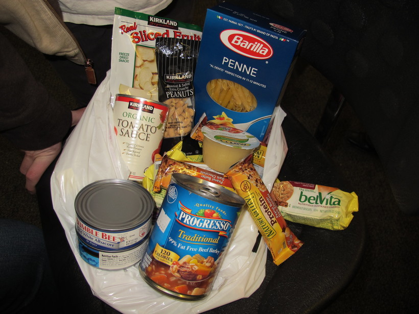 bag of food given out at the college's recently opened food pantry