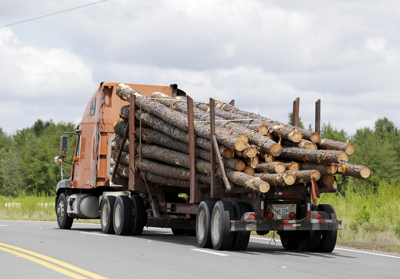a truck load of logs heads to the Klausner lumber mill