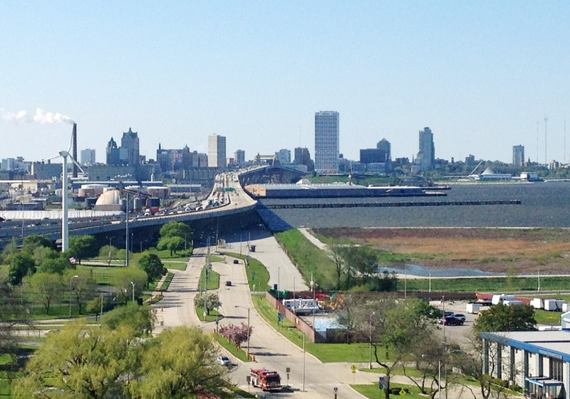 downtown Milwaukee with Lake Michigan to the right
