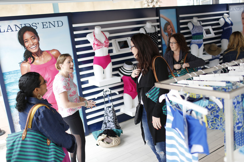 Customers interact at the Lands' End Getaway Tour