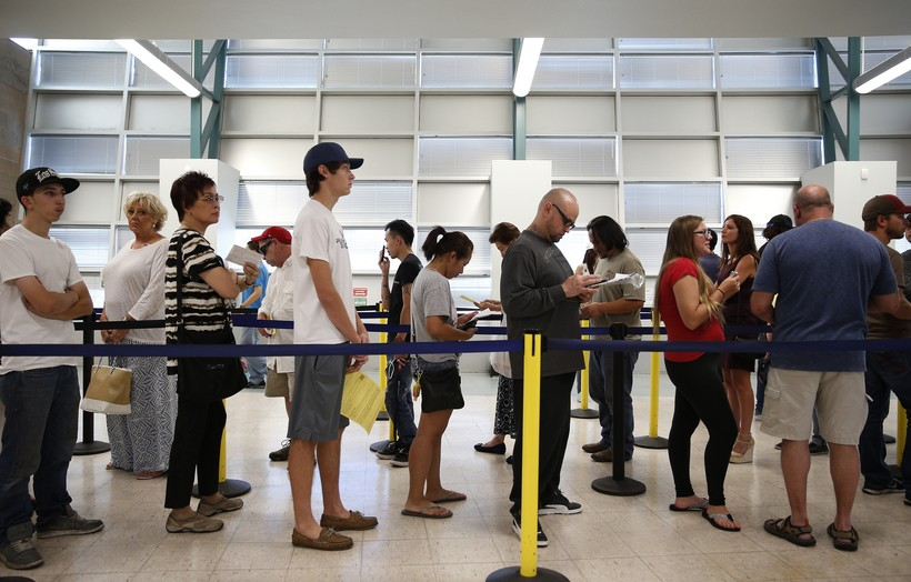 waiting in line at a Department of Motor Vehicles office