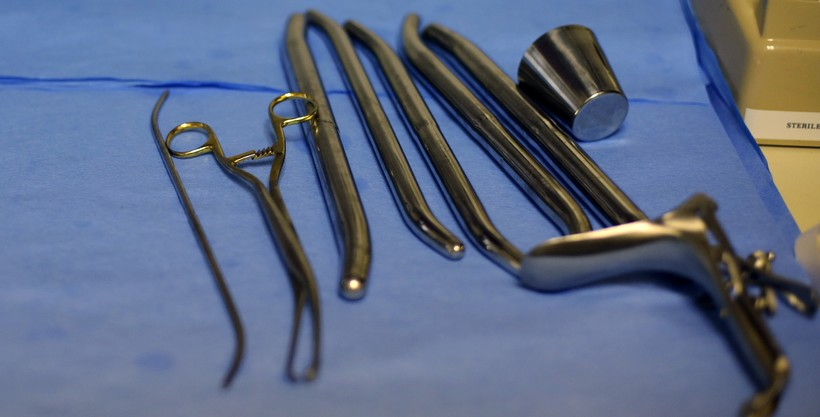 medical implements — like a speculum — for women's health at a clinic