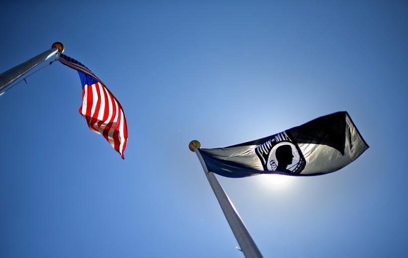 POW-MIA and American flag flies