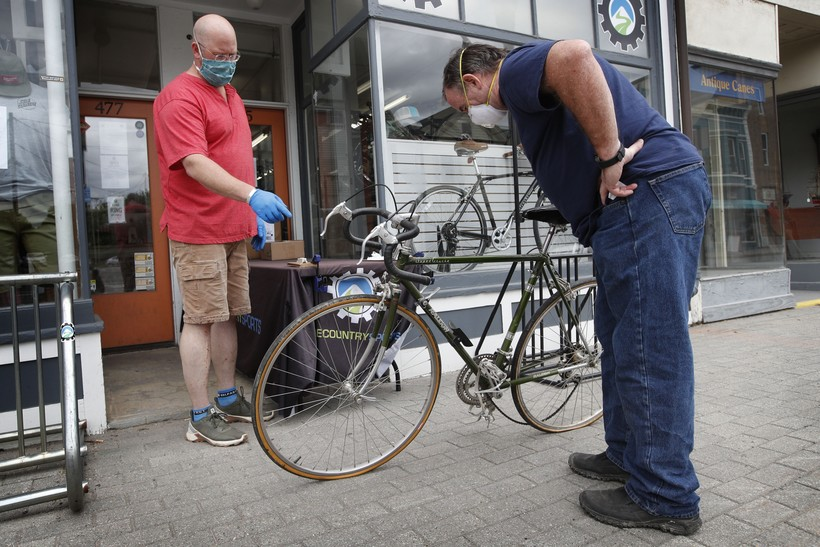 Man holding bike