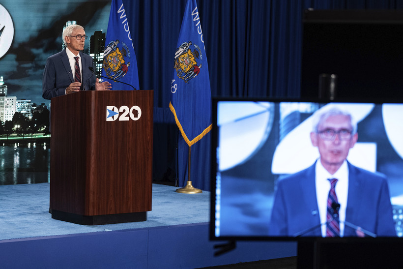 Tony Evers speaks during the third day of the Democratic National Convention