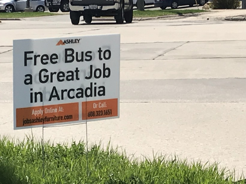 Sign promises free ride to a job at Ashley Furniture in Arcadia