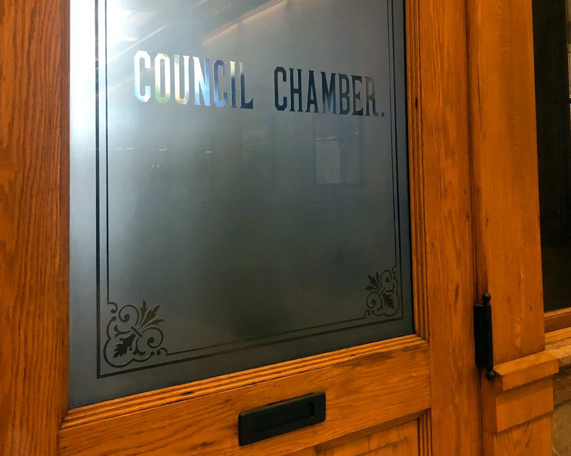 The Milwaukee Common Council chamber door