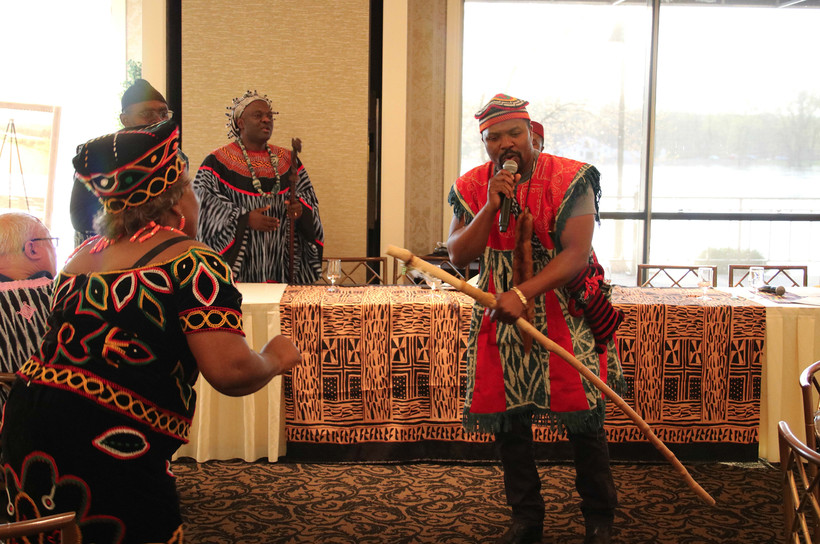 Traditional Cameroon singing and dancing at a town hall meeting in La Crosse last week to draw attention to the troubles in Cameroon.