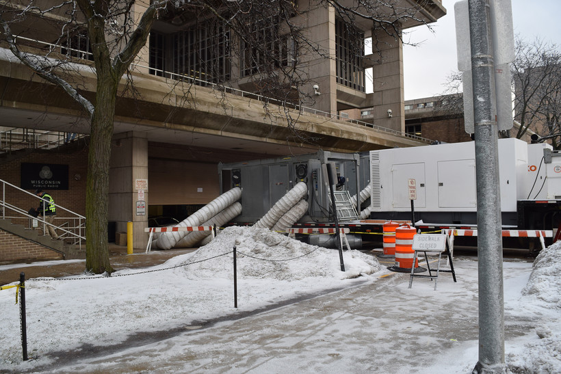 Remediation efforts take place at Vilas Hall on the UW-Madison campus