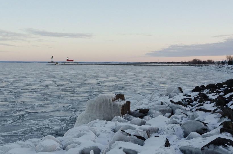 Lake Superior, winter, ice, Duluth Harbor