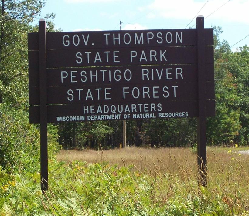 Peshtigo River State Forest, sign