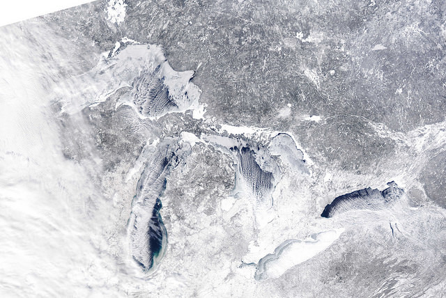 aerial image of the Great Lakes in winter