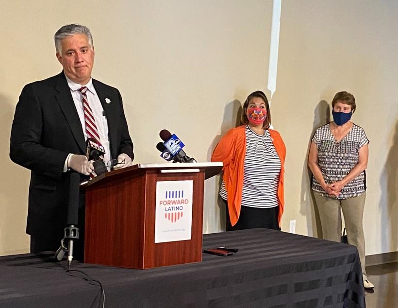 Forward Latino President Darryl Morin speaks at a press conference.