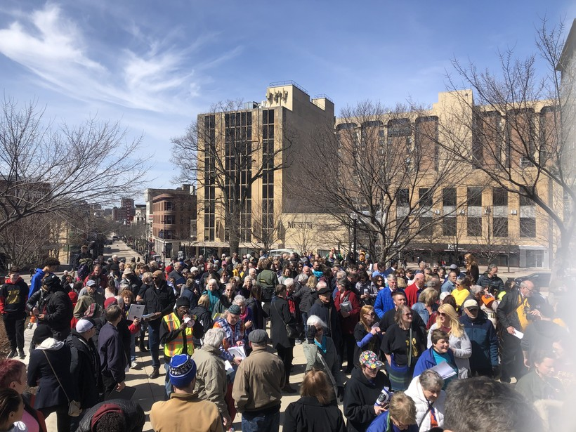 protesters gather on the steps of the state Capitol