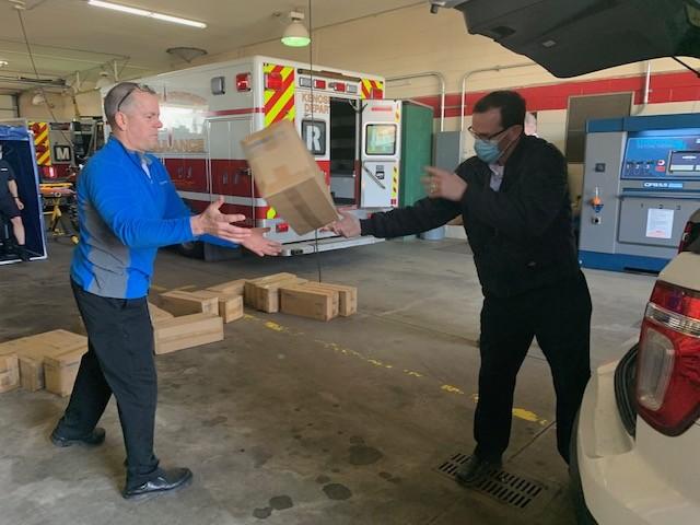 Jockey International delivers PPE to the Kenosha Fire Department