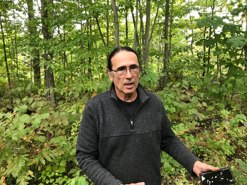 Paul DeMain on his land on the Lac Courte Oreilles reservation.