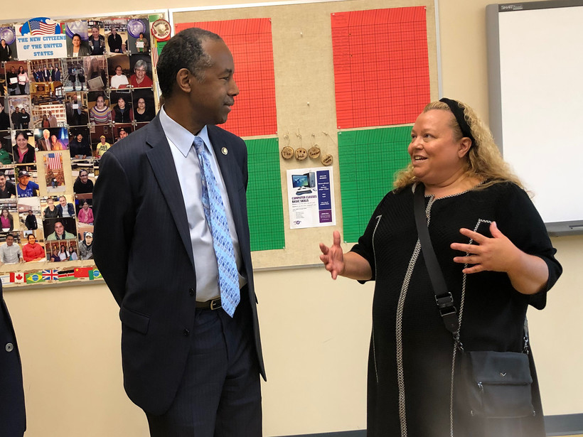 Ben Carson talks toDr. Michele Bria, CEO of Journey House