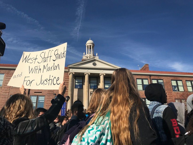 Students at Madison West High School walk out