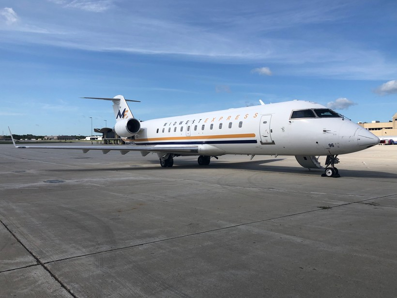 The Midwest Express branded aircraft is a 50-seat Bombardier CRJ 200 jet
