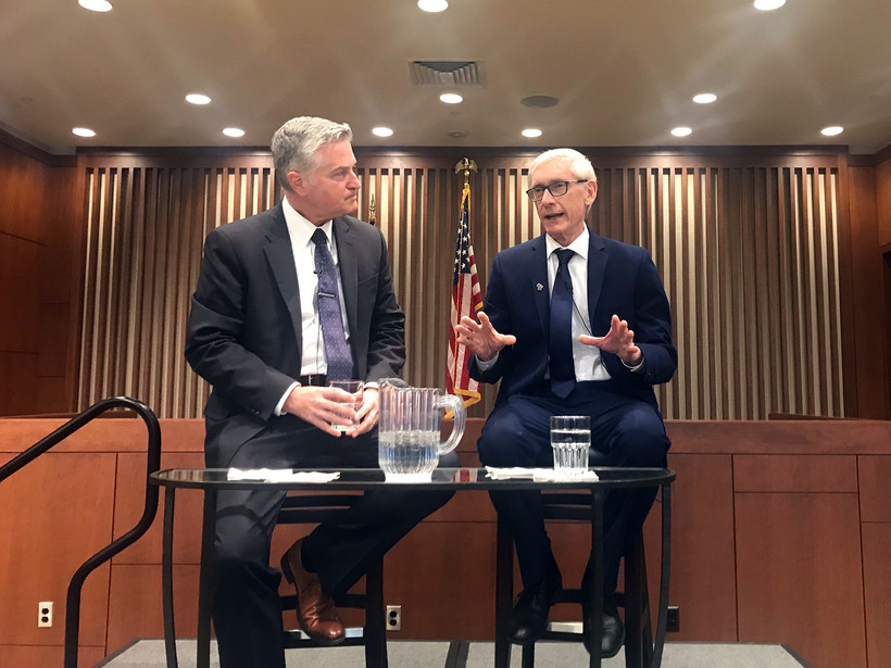 Journalist Mike Gousha and Gov. Tony Evers