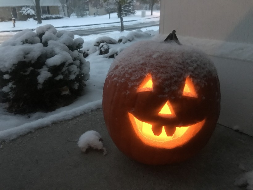 Snow on a pumpkin