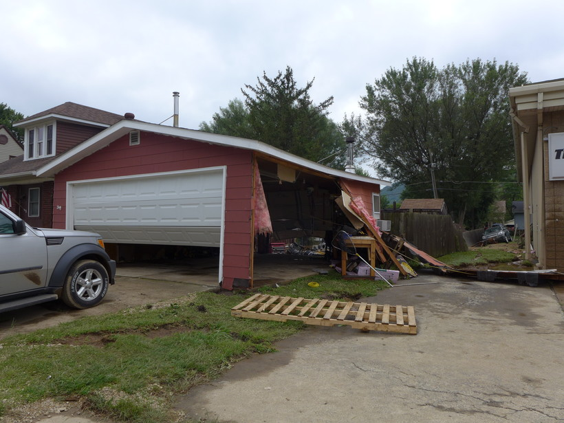Garage damaged by flooding in Coon Valley