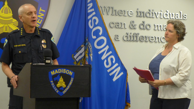 Madison Police Chief Mike Koval and Mayor Satya Rhodes-Conway