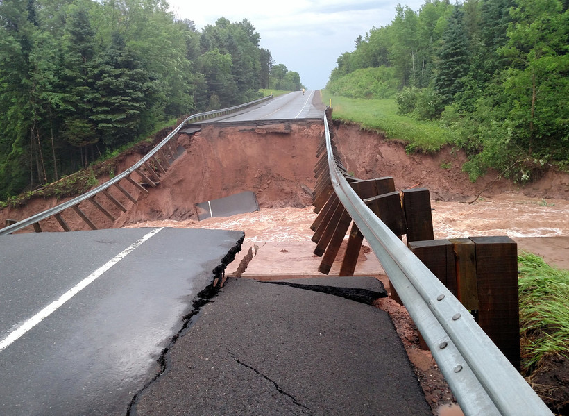 Flooding of US 2 in Bayfield County
