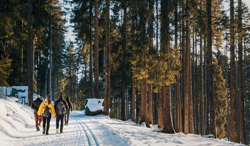 hiking a winter road