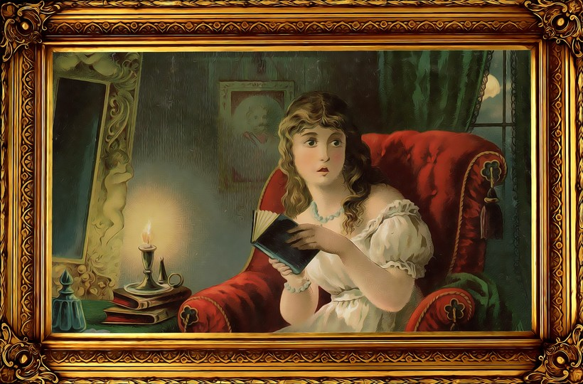 Victorian woman reading novel in chair