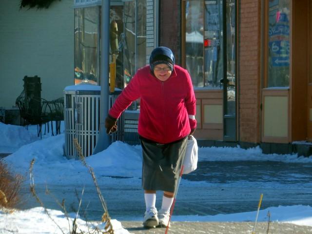 elderly, older, senior citizen, winter, cane, walking