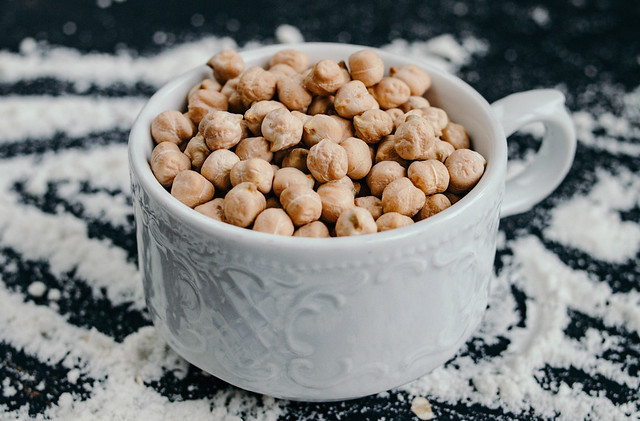 A cup of chickpeas, or garbanzo beans