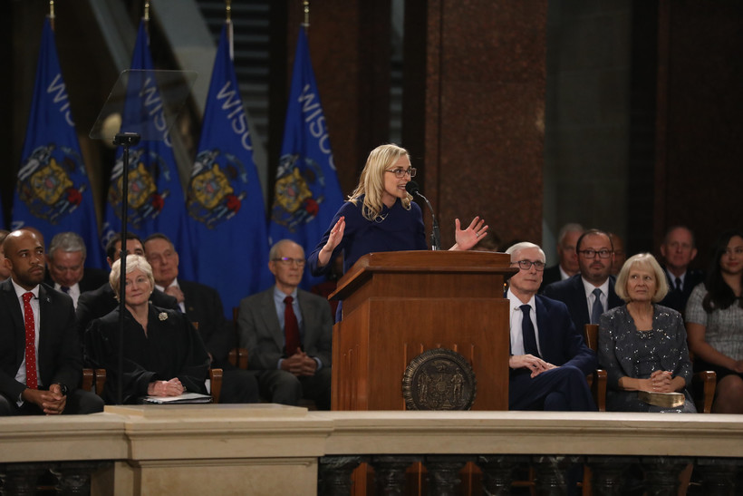 State Treasurer Sarah Godlewski gives a speech after being sworn in during the inauguration ceremony at the Wisconsin State Capitol on Jan. 7, 2019.