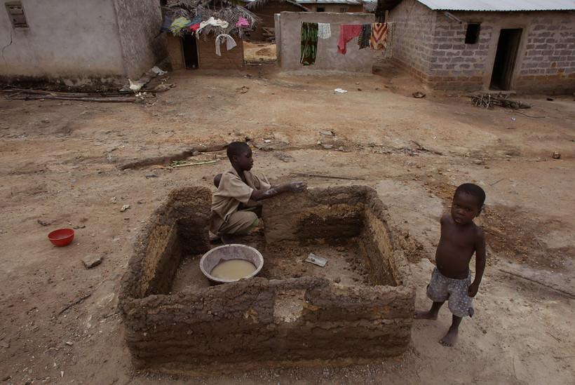 Children in a cocoa farming village in Ivory Coast