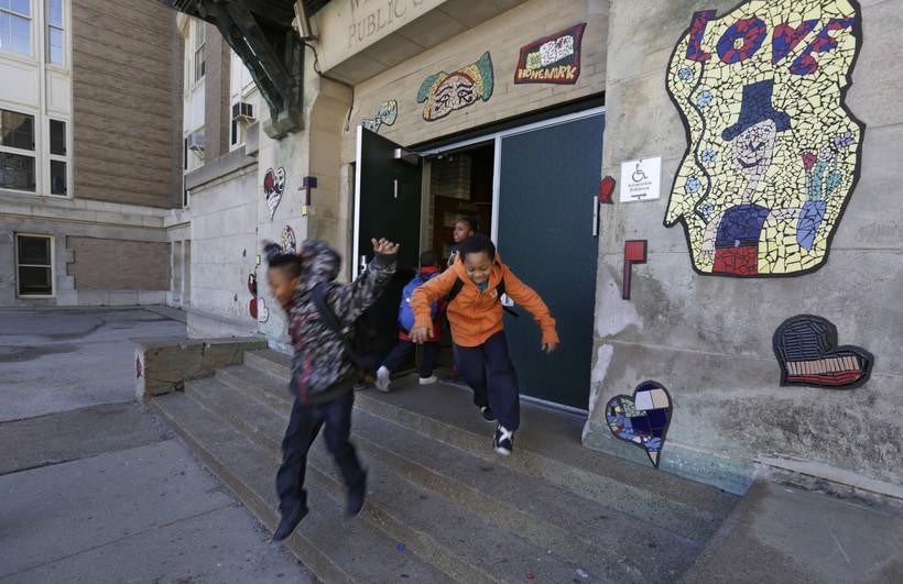 Kids leaving their elementary school