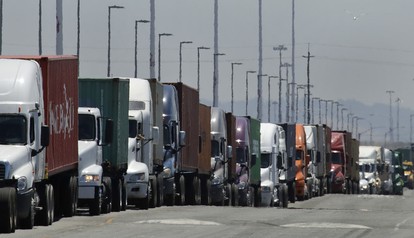 A line of semi trucks