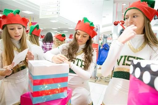 High school cheerleaders write letters to Santa