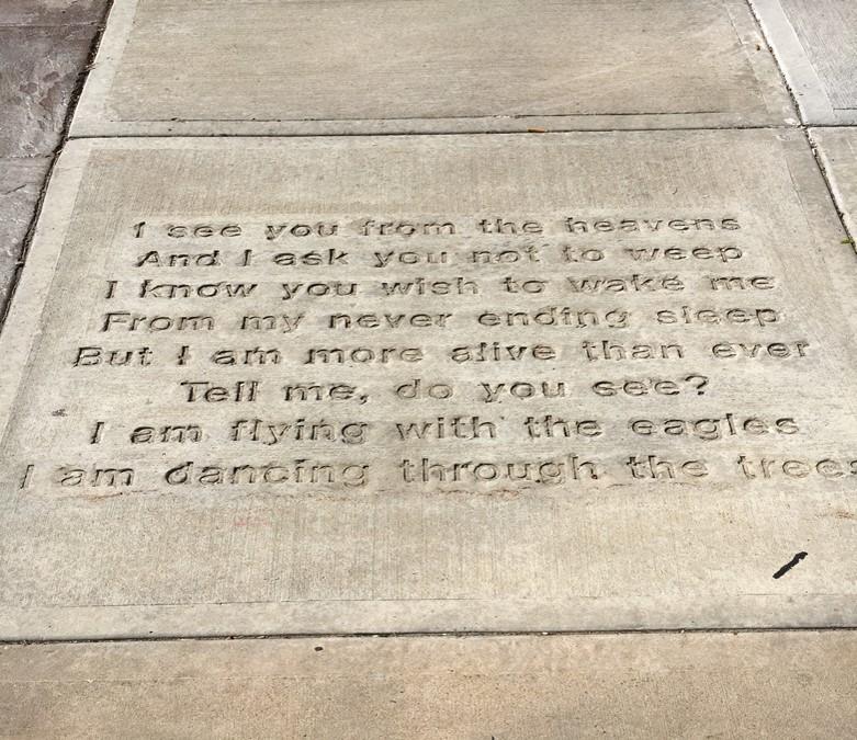 Maria Thomson poem on Appleton sidewalk