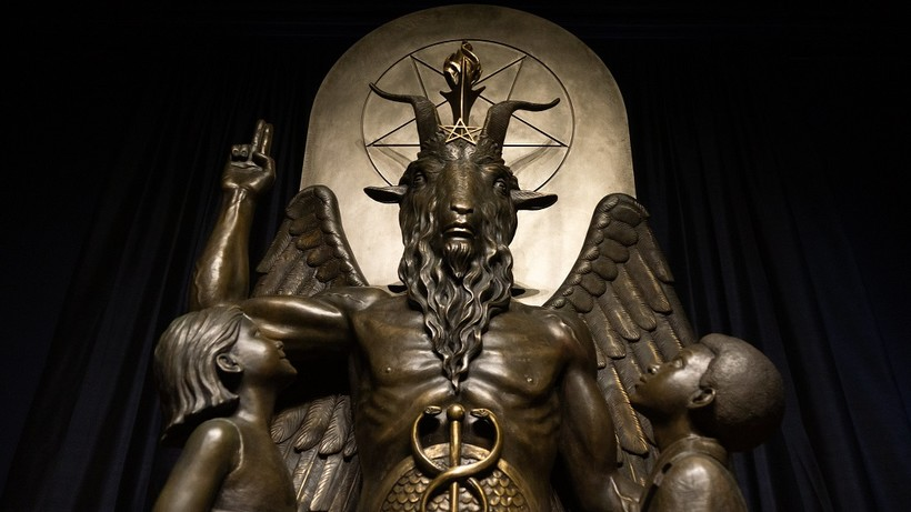 A statue of the goat-headed idol Baphomet at the international headquarters of the Satanic Temple in Salem, Mass.