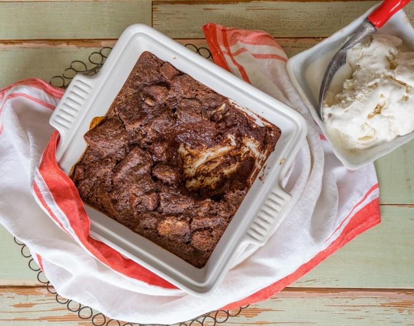 Chocolate bread pudding with vanilla ice cream