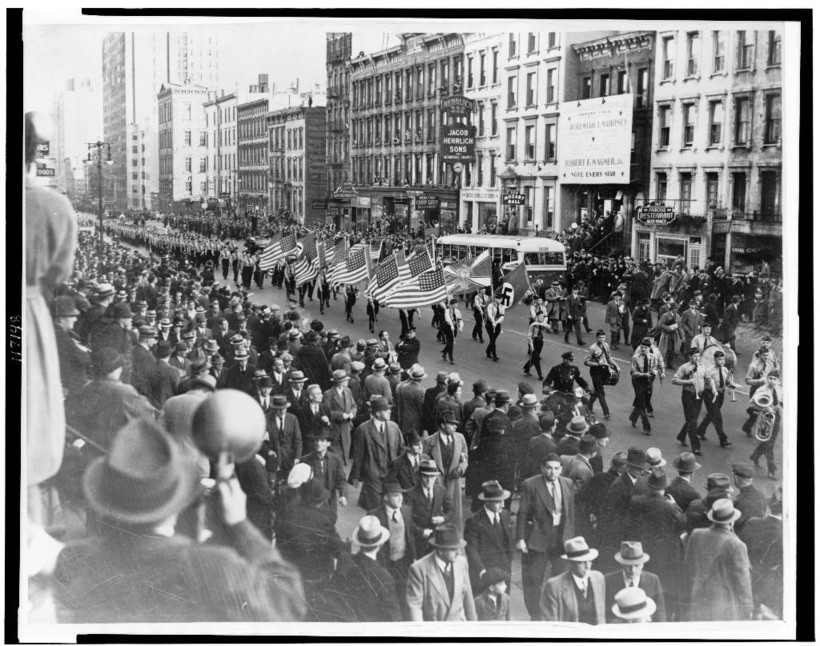 The German-American Bund march in NYC in 1939