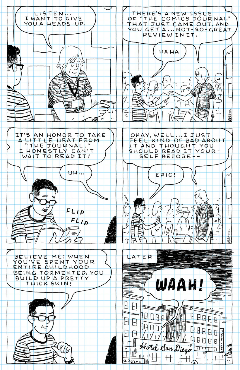 """a page from Adrian Tomine's graphic memoir, """"The Loneliness of the Long-Distance Cartoonist"""""""