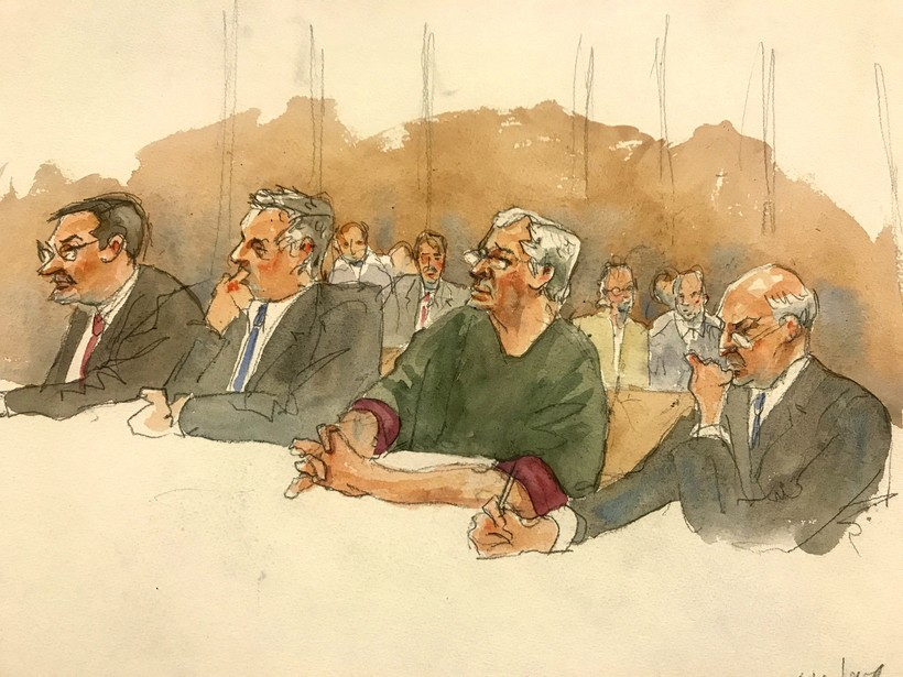 A courtroom sketch of defendant Jeffrey Epstein during a hearing in federal court.