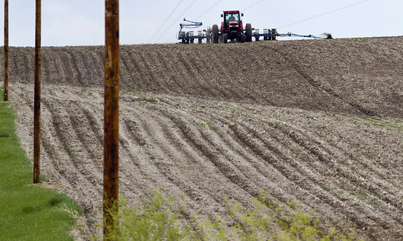 A tractor works a crop in a field.