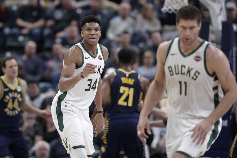 Giannis Antetokounmpo and Brook Lopez