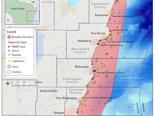A map of the proposed Wisconsin-Lake Michigan National Marine Sanctuary