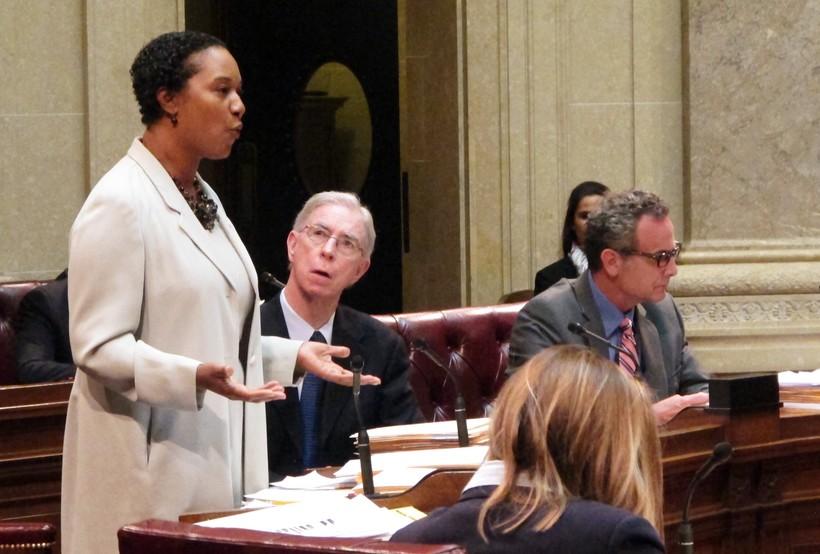 Senator Lena Taylor speaks before her colleagues